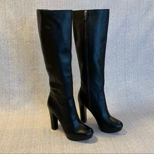 Michael Kors Lesley Boots Knee-High Black Heels 7